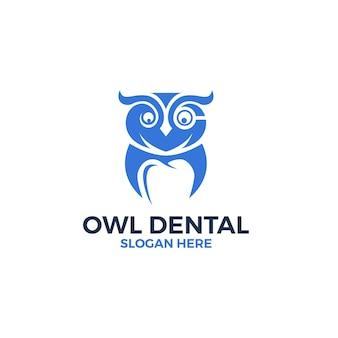 Uil met tand in negatieve ruimte logo ontwerpsjabloon