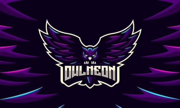 Uil neon licht moderne mascotte en sport logo sjabloon
