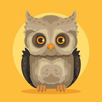 Uil platte cartoon uil illustratie