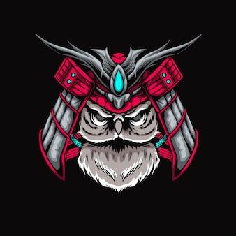 Uil samurai illustratie
