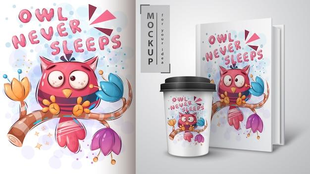 Uil slaapt nooit poster en merchandising