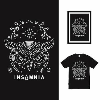 Uil slapeloosheid line art t-shirt design