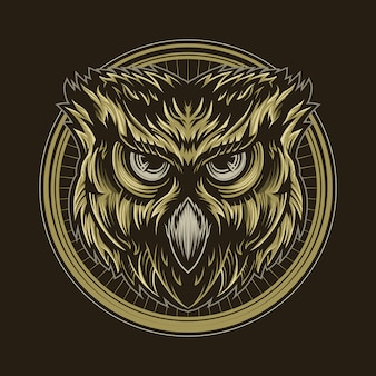Uil vector illustratie ontwerp geïsoleerd op donker
