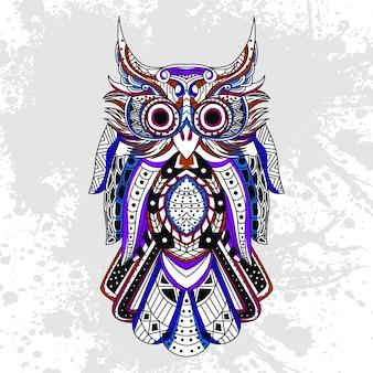 Uil versierd met abstracte vormen