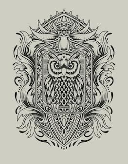 Uil vogel met gravure ornament