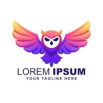 Uil vogel moderne kleurrijke logo