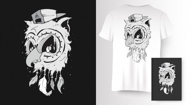 Uil voor t-shirt print Premium Vector