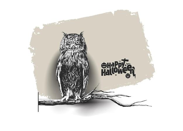 Uil zittend op een tak silhouet met happy halloween tekst achtergrond, hand getrokken schets vector.