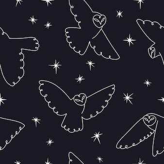 Uilen en sterren naadloos patroon
