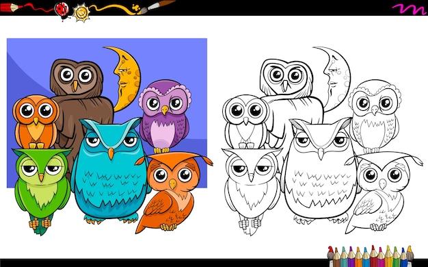 Uilen vogel tekens groep kleurboek
