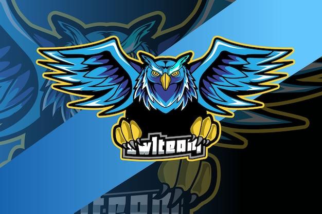 Uilmascotte voor sport en esports-logo geïsoleerd op donkere achtergrond