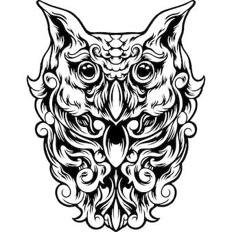 Uilvogel met volledig ornamentsilhouet