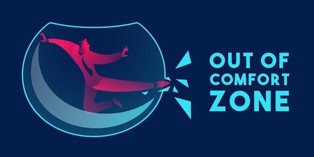 Uit de comfortzone bedrijfsconcept in rode en blauwe neongradiënten
