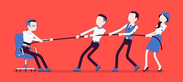 Uit de comfortzone komen om persoonlijke groei te krijgen. team van mensen die met moeite een man proberen te trekken uit een gezellige thuisomgeving, waar hij zich op zijn gemak voelt, veilig. vectorillustratie, gezichtsloze karakters
