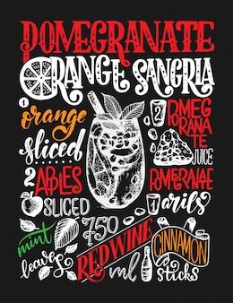 Uit de vrije hand schets stijl tekening van granaatappel oranje sangria, cocktailglas, verschillende soorten fruit en handgeschreven letters.