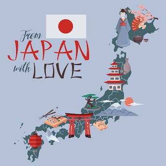 Uit japan met liefdeillustratie