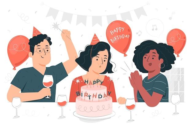 Uitblazen verjaardag kaarsen concept illustratie