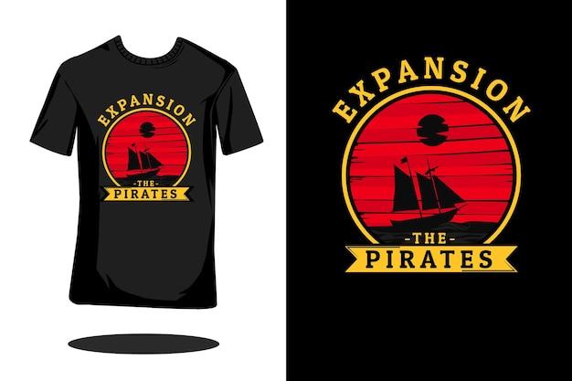 Uitbreiding piraten retro silhouet t-shirt ontwerp