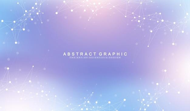 Uitbreiding van het leven. kleurrijke explosieachtergrond met aangesloten lijn en punten, golfstroom. visualisatie quantumtechnologie. abstracte grafische achtergrond explosie, beweging burst, vectorillustratie.