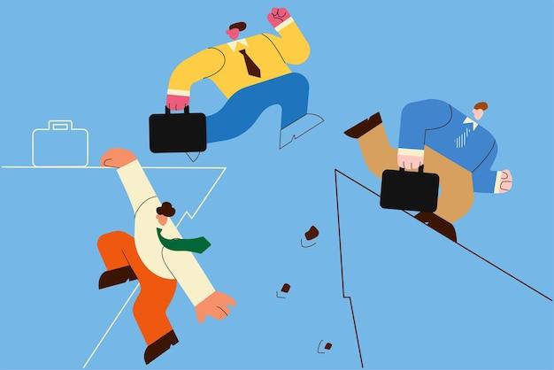 Uitdaging, zakelijke concurrentie, risicoconcept. concurrenten van zakenmensen.