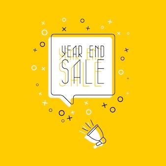Uitdrukking 'eindejaarsverkoop' in gele tekstballon en megafoon op witte achtergrond. platte dunne lijn. moderne bannerzaken, marketing.