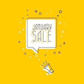 Uitdrukking 'januari-verkoop' in witte tekstballon en megafoon op gele achtergrond.