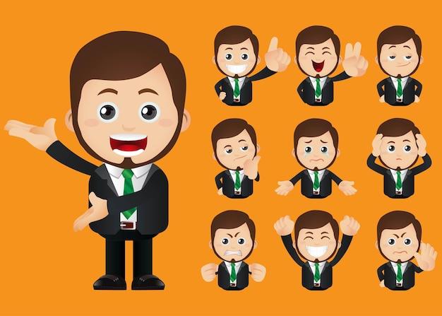 Uitdrukkingen van zakenmensen met verschillende gezichten
