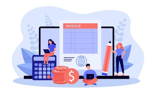 Uiterst kleine accountants die aan computerfactuur werken