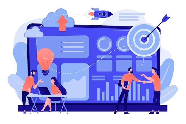 Uiterst kleine bedrijfsanalisten die ideeën bespreken op laptop met gegevens. data-initiatief, beroep in metadatastudie, data-gedreven startup-concept