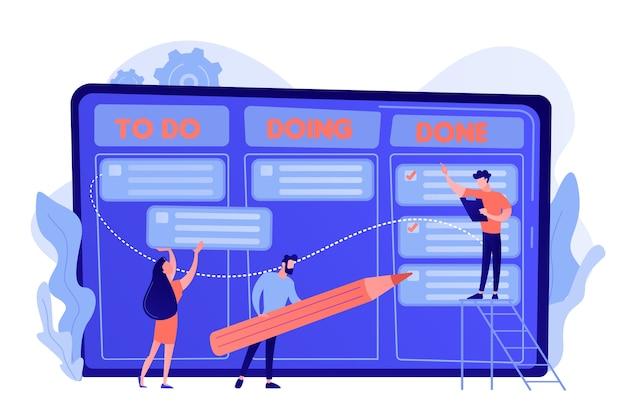 Uiterst kleine zakenmensen en manager bij de grafiek van de taken en doelstellingen. taakbeheer, tool voor projectmanagers, softwareconcept voor taakbeheer
