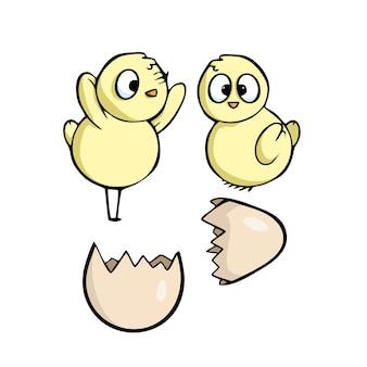 Uitgekomen kuikens pasen geïsoleerde illustratie
