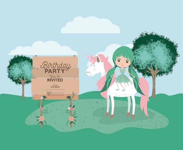Uitgenodigde verjaardagsfeestkaart met eenhoorn en fee
