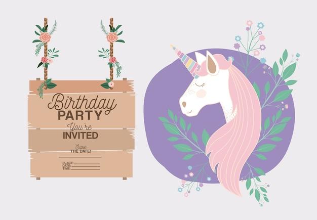 Uitgenodigde verjaardagsfeestkaart met eenhoorn