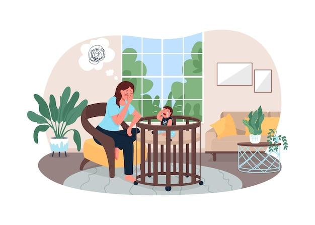 Uitgeput moeder 2d-webbanner