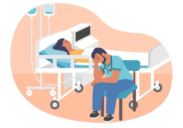Uitgeput overwerkte arts of stagiair zittend op stoel in ziekenhuisafdeling naast patiënt liggend op brancard, plat. moe, slaperig medisch werker. werk burn-out, wanhoop.