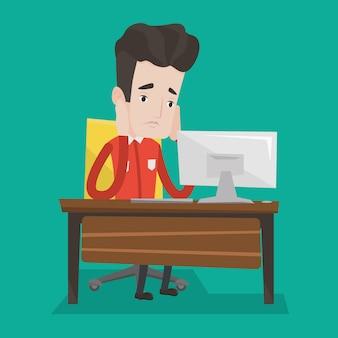 Uitgeput triest werknemer werken op kantoor.