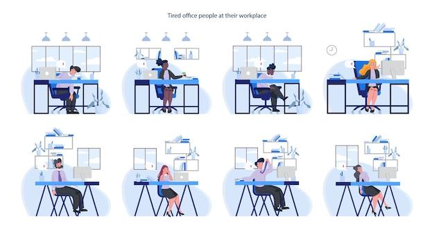 Uitgeput zaken man en vrouw set. mensen uit het bedrijfsleven met gebrek aan energie