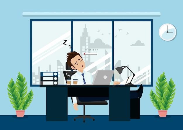 Uitgeputte mannelijke beambtezitting bij de lijst. gefrustreerde werknemer, psychische problemen.