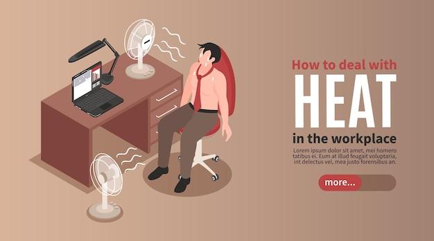 Uitgeputte zwetende man die de hitte op kantoor probeert aan te pakken met behulp van twee ventilatoren isometrische horizontale banner
