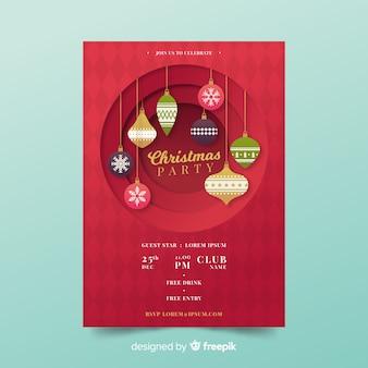 Uitgesneden ballen kerstfeest poster