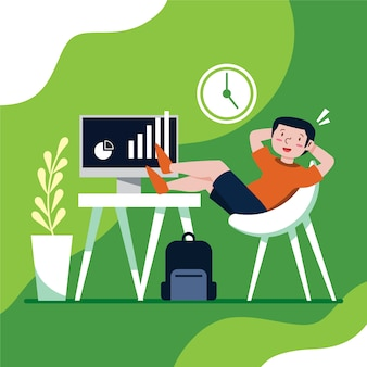 Uitgesteld concept dat met persoon het ontspannen wordt geïllustreerd