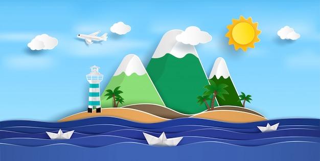 Uitgestrekt uitzicht op zee in de zomer en natuurlijke schoonheid