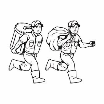 Uitgevoerd met prullenbak, junk man karakter in zwart en wit