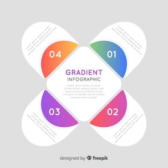 Uitgevouwen verloop infographic met abstracte vorm