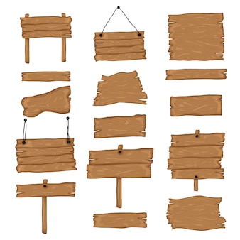 Uithangborden maken. bouw je eigen ontwerp. houten planken in verschillende vormen en maten. cartoon stijl illustratie - vector.