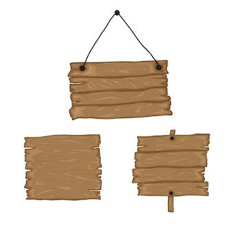 Uithangborden maken. bouw je eigen ontwerp. houten planken in verschillende vormen en maten. cartoon stijl illustratie