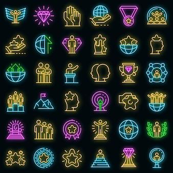 Uitmuntendheid pictogrammen instellen. overzicht set van excellentie vector iconen neon kleur op zwart