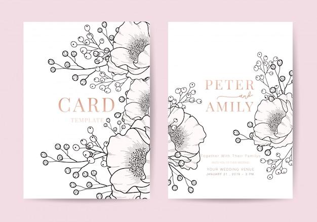 Uitnodiging bloemen uitnodigen luxe kaart ontwerpsjabloon