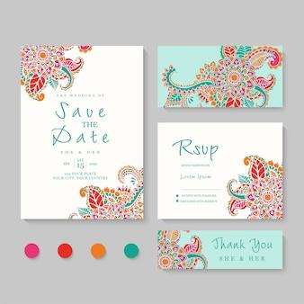 Uitnodiging bruiloft, bewaar deze datum, bedankt, rsvp-kaart ontwerpsjabloon.