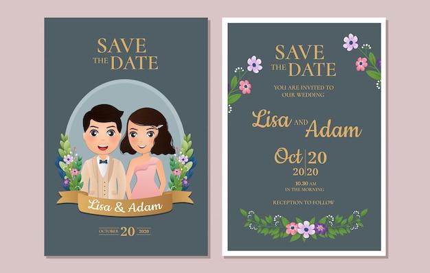 Uitnodiging bruiloft de bruid en bruidegom schattig paar stripfiguur.